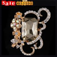 Tone Large Oval Rhinestone Crystal Costume Big Brooch Women Party Corsage,Flower Brooch