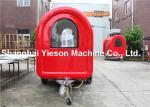 赤い Iso9001 セリウムのアイス クリームの食糧トラックのトレーラー 500kg のグラス ファイバー