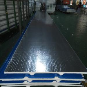China 30mm silver paper polyurethane foam sandwich roof panel 840-30-0.376mm for house on sale