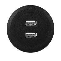 Black Color USB Power Socket , DIY USB Plug Outlet ABS Material Indoor Use