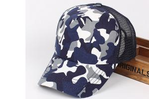 China Camouflage Sports Baseball Hat / Mesh Golf Cap with 6 Panel Single Row Plastic Button on sale