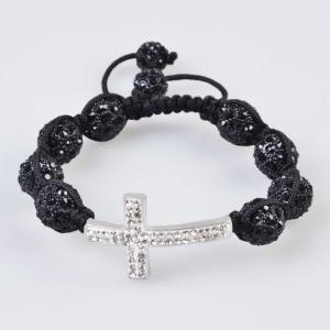 China Low price and best service Tresor Paris Shamballa Crystal Bangle Bracelets with black bead on sale