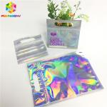 Digital Print Foil Pouch Packaging Clear Front Hologram Zip Lock Bag For Cosmetic Sample