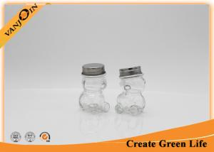 China 80ml Bear Shape Food Storage Candy Glass Jars , Spice Glass Jar With Stainless Steel Lid on sale