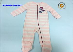 China Stripe AOP Baby Pram Suit 100% Polyester Micro Fleece Long Sleeve Coverall on sale