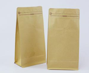 China heat seal recycled flat bottom kraft paper bag in stock for snack food on sale