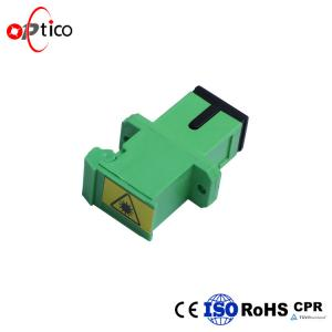 China Compact Fiber Optic Network Adapter Green SC APC To SC APC SM SX With Shutter on sale