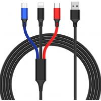 Three In One Nylon Braided USB Data Cable With IOS Micro And Type C Head