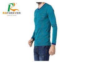 China High - End Custom Printed T Shirts / Long Sleeve Knitted Sportswear With V - Neck Fitting on sale