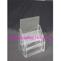 China 3 Tier Plexiglass Poster Holder Transparent A4 A5 Acrylic Brochure Holder on sale
