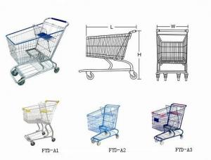 China Power Coating Steel American Style 120L, 125L, 150L, 180L Supermarket Shopping Trolleys on sale