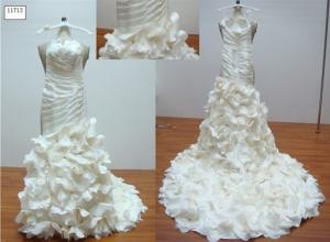 China Ball Gown Pleated Neck Ruffles Strapless Floor Length Real Sample Wedding Dresses on sale