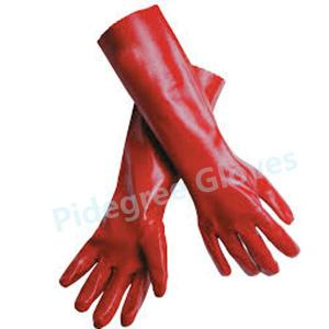 China Red Soft PVC Household Gloves , Long Sleeve Latex Working Glove on sale