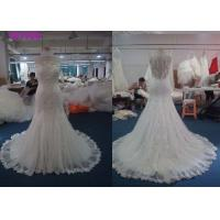 Sleeveless Style Fit And Flare Wedding Dress , Woman Tulle Mermaid Bridal Gowns