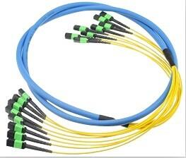 Quality Multi mode MPO MTP Trunk Patch Cord with customized logo in Yellow for sale