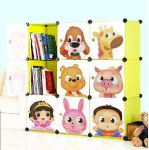 China 9 doors DIY PP green cubes book cabinet book shelf for children on sale
