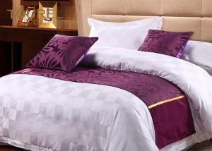 China Viscose Cotton Blended Jacquard Purple Bed Runner Wide Size With Satin Band on sale