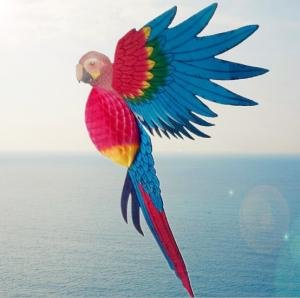 China Home Furnishings Party Decoration Large Animal Simulation Paper Carving Bird Parrot Honeycomb Paper Crafts on sale