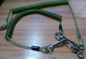 China Snap hook on each end terminal transparent green stop drop tooling wire coil lanyard cable on sale