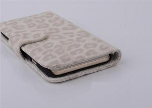China White PU + PC Leopard Iphone Leather Case / Iphone 5s Protective Case on sale