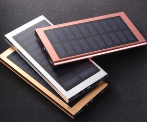 China Super Slim Allumium 10000mAh  Solar Power Charging Waterproof Solar Power Bank with Flash light on sale