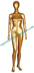 China Unbreakable golden Female Standing Dress Form Mannequins with Real makeup HBE-LK on sale