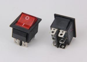 China 6 Pins Push Rocker Switch 16A 250VAC , Lamp DPDT ON ON Rocker Switch on sale