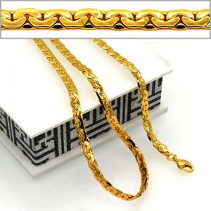 China Red bean Chain Men & woman Jewelry Wholesale 18K Real Gold Plated 5.2MM Snake Chain Neckla on sale