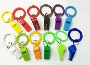 China Flex Colored Plastic Wrist Coil With Whistle Soft Spring Coil Key Chains on sale