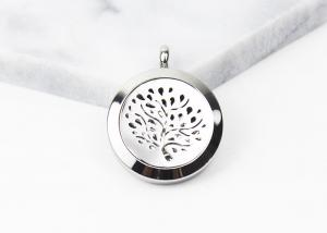 China Stainless Steel Essential Oil Jewelry Magnetic Locket Carving Round Aromatherapy Necklace on sale