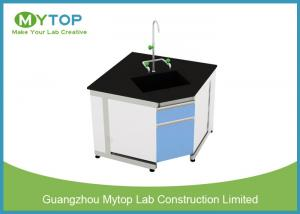 China Steel And Wood Modern Lab Furniture Conner Lab Desk With PP Sink And Water Tap on sale