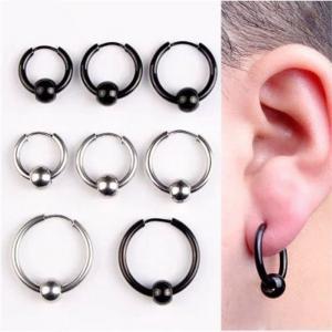 China Hoop Earrings Stainless Steel Punk Men Earrings Ball Pendant Circle Ring Earring Piercing Jewelry Earrings Christmas Gif on sale