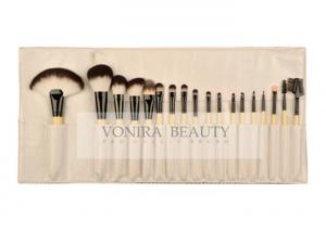 China Bamboo Handle Eco Synthetic Makeup Brushes Set With Leather Roll Pouch on sale