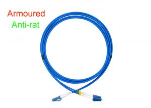 China Armoured Duplex Fiber Optical Patch Cord Indoor 3.0 Anti-rat Blue SOS DX LC/UPC on sale