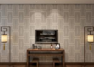 China Waterproof White Gray Contemporary Wallpaper With Creamy White Plaid Pattern on sale