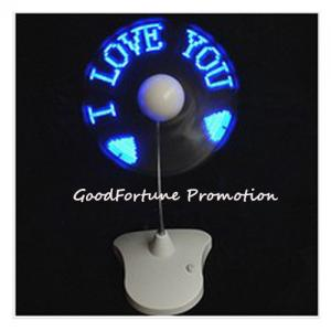 China Customed Cheap promotional fold message led flash desk mini fan printed logo gift on sale