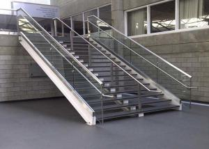 China Outdoor Steel Double Stringer Straight Stairs Marble Tread Staircase on sale