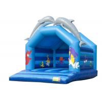 Bule Dolphin Inflatable Bounce House Commericial Double Stitching Tripling Welding