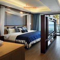 Modern Resort / Star Hotel Bedroom Furniture Queen Size Dark Brown