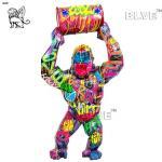 Colour Spraying Resin Gorilla Sculpture Life Size Fiberglass Cartoon Statues