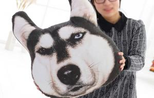 China Big Satsuma husky dog head pillow cushions doll large gift 3D Printing 35*38cm on sale