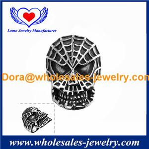 China Wholesales fashion luxury jewelry for Simple Design Men Skull Punk 316L Steel Ring. on sale