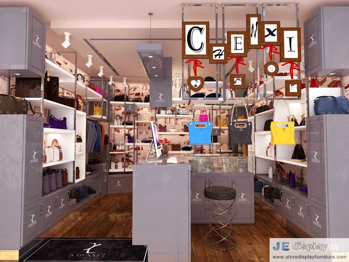 Female Bag Shop In Fashion Interior Design By Matte Grey Display Cabinet  And Glossy Iron Tube Racks 3000K Led Light For Sale U2013 Functional Furniture  For ...