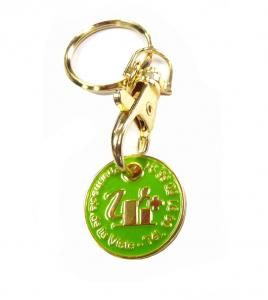 China Gold Euro Coin Trolley Token Coin Metal Keychains for Souvenir Gifts and Promotions on sale