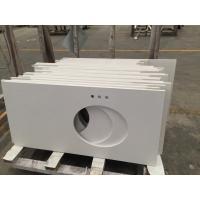 Single Sink Quartz Stone Countertops, Flat / Eased Edge Prefab Quartz Vanity Tops
