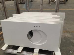 China Single Sink Quartz Stone Countertops , Flat / Eased Edge Prefab Quartz Vanity Tops on sale