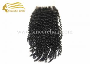 China Hot 18 Clouser Hair Extensions - 18 Black Curly Virgin Remy Human Hair Clouser Extensions 4 X 4 For Sale on sale