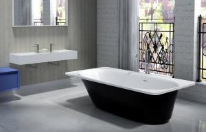 China White Artificial Stone Bathtub  Deep Soaker Tub  Easy To Polish on sale
