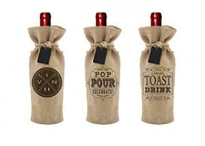 China Screen Printing Wine Bottle Bags Personalized Wine Gift Bags With Drawstring on sale