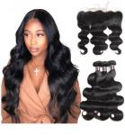 10'' Virgin Human Hair Extensions For Lady / Body Wave Bundles With Lace Frontal
